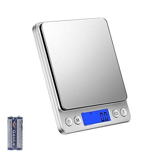 Acale Balance de Cuisine - 3kg/0.1g Balance de Précision Cuisine, Balance de Poche Electronique, Écran LCD Rétroéclairé, avec Fonction Tare et Compte, 2 Pallets