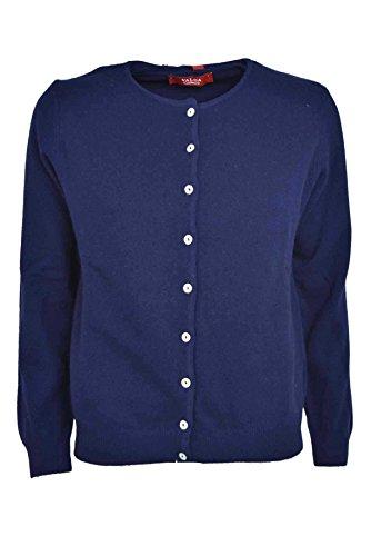 Twin-Set Damen-Cardigan Mit Rundhalsausschnitt + Tshirt Mixed-Kaschmir - Klassiker - Blau, L