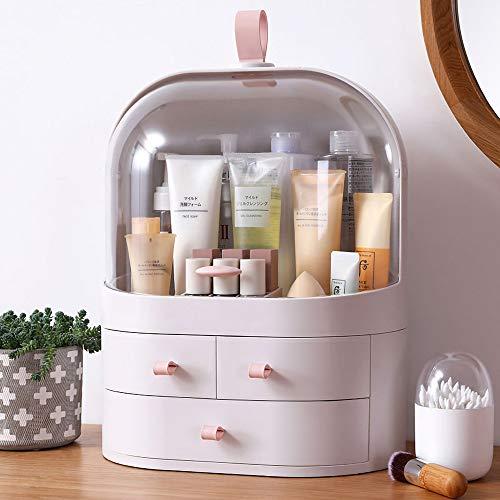 Ihuiniya Large Cosmetics Organizer Box,Cosmetics storage display rack with drawer,Waterproof, dustproof, elegant display cabinet,Suitable for bathroom countertop, bedroom dresser (White)