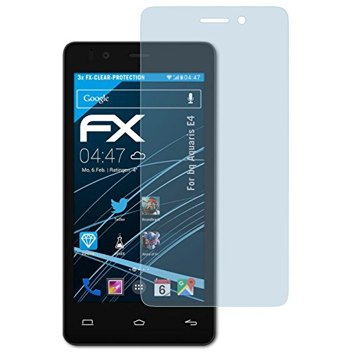 atFolix Schutzfolie kompatibel mit bq Aquaris E4 Folie, ultraklare FX Bildschirmschutzfolie (3X)