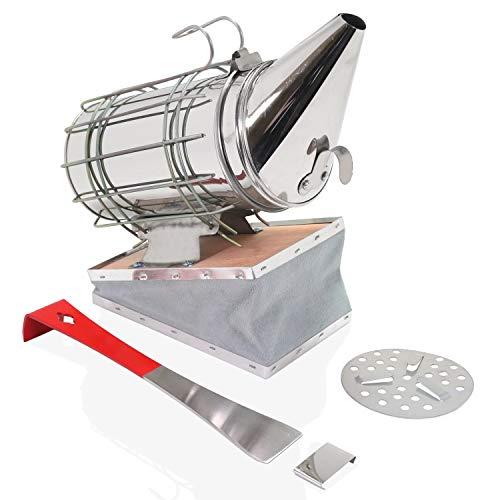 Aestic Smoker für Bienenstock aus Edelstahl 28 cm mit Hitzeschutz und Heber und Schaber Werkzeug