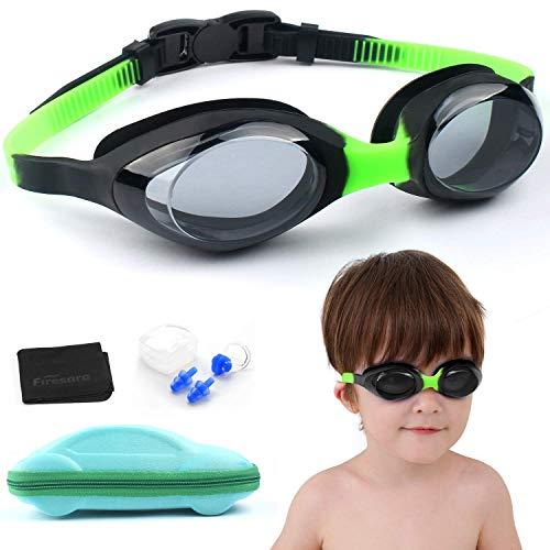 firesara Kinder Schwimmbrille, Unisex Training Freizeit Kinderschwimmbrille mit Ohren- und Nasenschutz (Anti-Beschlag-Schutz, UV Schutz, lecksicher Gläser)