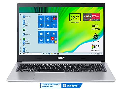 Acer Aspire 5 A515-44-R0KN Pc Portatile, Notebook con Processore AMD Ryzen 5 4500U, Ram 8 GB DDR4, 512 GB PCIe NVMe SSD, Display 15.6' FHD IPS LED LCD, AMD Radeon, Windows 10 Home, Silver