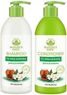 Nature's Gate Shine Enhancing Shampoo and Nature's Gate Shine Enhancing Conditioner Bundle With Jasmine and Kombucha, 18 fl. oz. (532 ml)