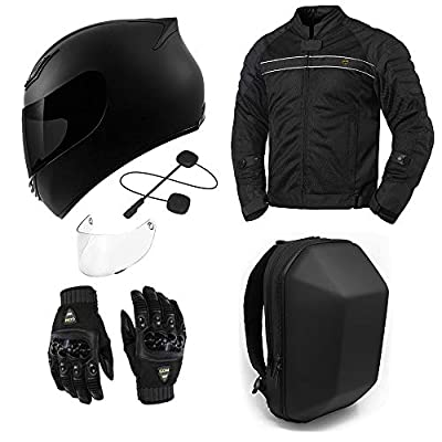 GDM Motorcycle Protective Gear Bundle - (Helmet, Bluetooth Headset, Jacket, Gloves, Backpack) Package Set (Small, Stealth Black) from GDM