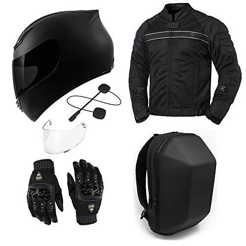 GDM Motorcycle Protective Gear Bundle - (Helmet, Bluetooth Headset, Jacket, Gloves, Backpack)...