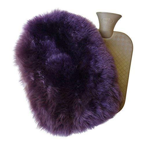 Lamsvacht - warmwaterkruik set 2,0 L knuffelige kruik hoes + rubberen fles lila