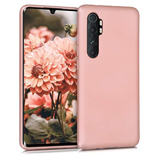 kwmobile Funda Compatible con Xiaomi Mi Note 10 Lite - Carcasa móvil de Silicona - Protector Trasero en Oro Rosa Metalizado