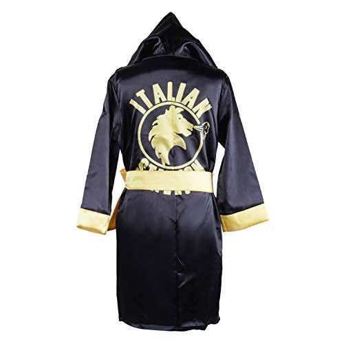 Classic Movie Clothes Apollo American Flag Children Boxing Costume Robe Cloak Hooded Shorts Kids Italian Stallion Suits (Black, L)