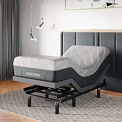 "Sven & Son Twin XL Adjustable Bed Base Frame + 14"" Luxury Cool Gel Memory Foam Hybrid Mattress, Head Up Foot Up, USB Ports, Zero Gravity, Interactive Dual Massage, Wireless, Classic (Twin XL)"