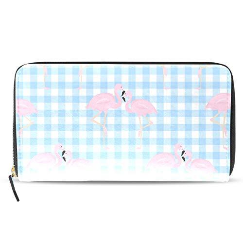 Emoya Damen Geldbörse aus Leder mit rosa Flamingo-Flicken, mit Kreditkartenfächern