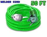 welder extension cord 50 ft 10,000 Watts Nema 6-50 250-Volt Welder Extension Cord 8 gauge lighted end 8/3 welder extension cord 50 amp plug ETL Approved