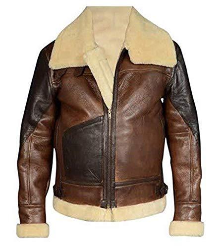Fashion_First Herren B3 Fliegerjacke Fliegender RAF Pelz Shearling Bomber Braun Schaffell Leder Jacke Gr. S, braun