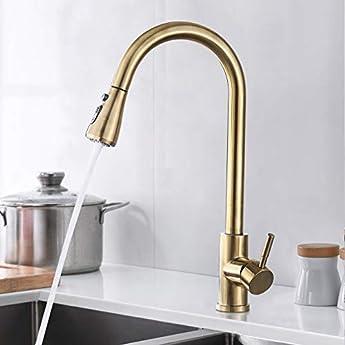 Foto di SUGU Rubinetto da cucina moderno estraibile con piatto doccia rubinetto girevole a 360° miscelatore monocomando da cucina, oro spazzolato