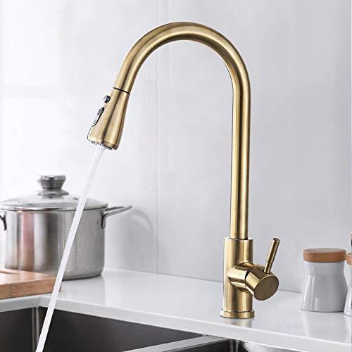 SUGU Moderne Küche Ausziehbarer Küchenarmatur mit Duschwanne Wasserhahn 360 ° Schwenkbarer Einhebelmischer Küchenarmatur, Gebürstetes Gold