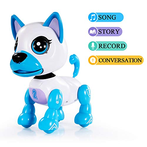 TEMI Smart Interactive Animated Robot Puppy, Respond to Touch, Walking, Singing, Telling Stories, Repeat What You Said, Making Conversation, Electronic Pet Dog Toy for Kids USB Charger Included (BLUE)