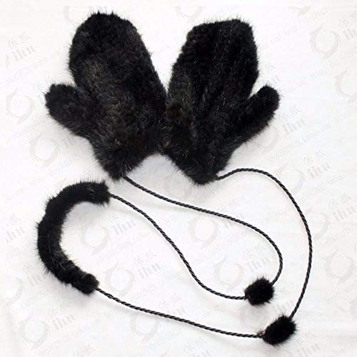 DASGOODHochwertige Winter Damen Handschuhe Handschuhe Strickhandschuhe Dicke Warme Fellhandschuhe Fäustlinge, Schwarz