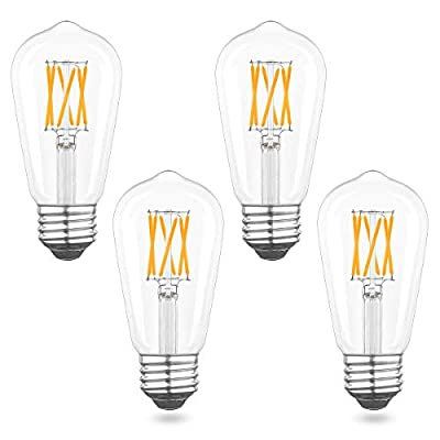 AIELIT E26 Edison LED Bulbs Dimmable, 2700K Warm White, 6W(60W Equivalent), Antique ST58/ST19 Light Bulb for Domestic Linear Pendant Light, Farmhouse Industrial Kitchen Island Chandelier, 4-Pack