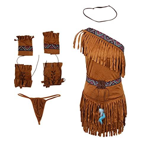 joyMerit Traje Indio Nativo de Las Mujeres - Vestido de Ante Marrón Tassel Outfit Salvaje Oeste - Caqui, SG