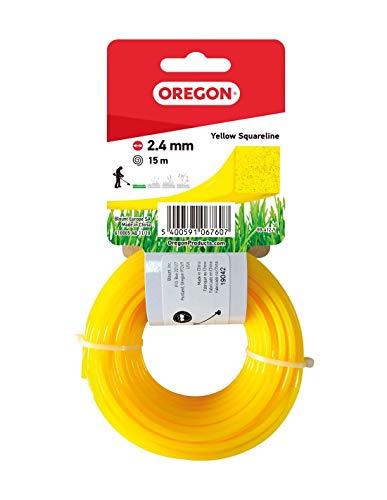 Oregon 69-412-Y Fil carré jaune pour débroussailleuse et débroussailleuse 2,4 mm x 15 m