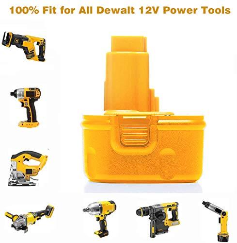 2Pack 12V 3.6Ah DW9071 Battery Replacement for DeWalt 12V XRP Battery Ni-Hh DC9071 DC9072 DE9037 DE9071 DE9072 DE9074 DE9075 Compatible with DeWalt 12Volt Tools