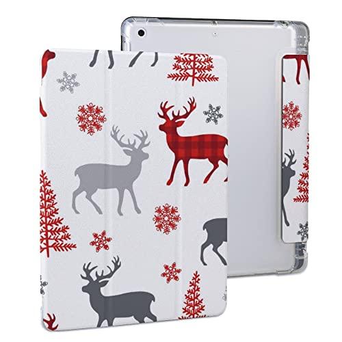 Funda compatible con iPad 9Th Generation 2021, 8Th Generation 2020, Auto Sleep/Wake, funda dura ligera, soporte triple blanco árbol de Navidad rojo Elk iPad 2020 (10.2')