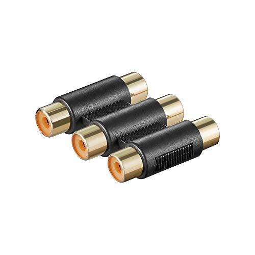 Wentronic 11871 Adaptateur et connecteur de câbles - adaptateurs et connecteurs de câbles (3 x RCA, 3 x RCA, Femelle/Femelle, Noir)