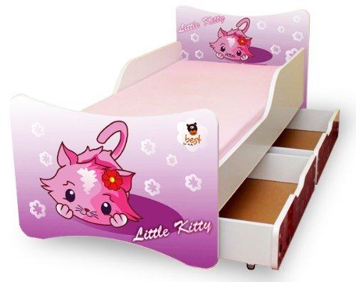 BEST FOR KIDS- - Lit pour enfant 90x200 AVEC DEUX TIROIRS PETIT KITTY
