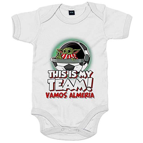 Body bebé parodia baby Yoda mi equipo de fútbol vamos Almería - Blanco, 12-18 meses