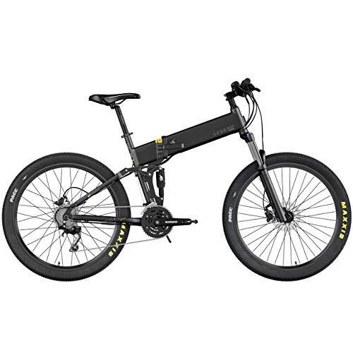 Legend ETNA 500W 45km/h Bicicleta eléctrica de montaña MTB Smart eBike 27,5', Doble suspensión RockShox + KS, Frenos de Disco hidráulico, batería 10,5 Ah Panasonic, Negro Onyx