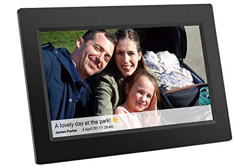 Feelcare 10 Inch Smart WiFi Digital Picture Frame with Touch Screen, Send Photos or Small Videos from Anywhere, IPS LCD Panel, Built in 8GB Memory, Wall-Mountable, Portrait&Landscape(Black)