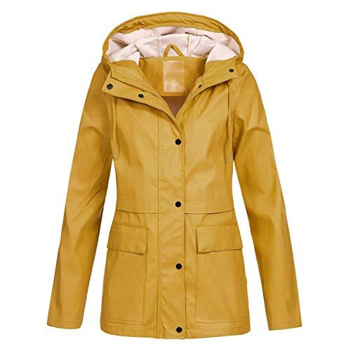 WYZTLNMA Women Oversize Rain Coat Outdoor Hoodie Waterproof Windproof Jackets Lady Solid Zipper Pocket Lightweight Raincoat Yellow