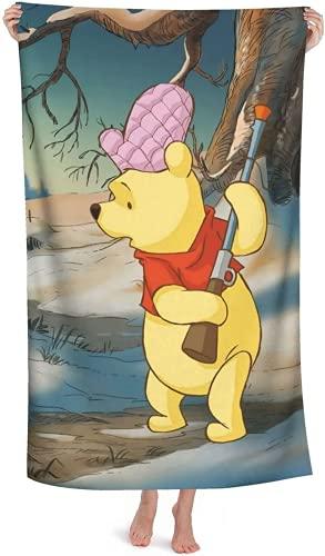 QWAS Toalla de playa de Winnie The Pooh con dibujos animados, toalla de playa para niños, suave y cómoda (AA1,100 x 180 cm)