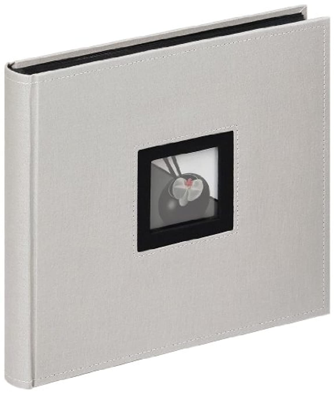 Walther Design FA-209-D Black & White Linen Cover, Book Bound Album with die Cut for Your Personal Picture, 10.2 x 10.2 inch (26 x 26 cm), 50 Black Pages, Grey