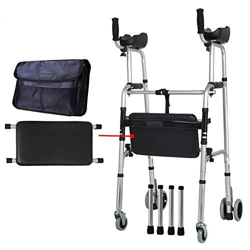 HSRG Ouderen Opvouwbare Standaard Walker, Verstelbare Walking Assist Uitgerust met Wielen en Arm Rest Pad voor gehandicapten, FourWheels+Seats+Tas