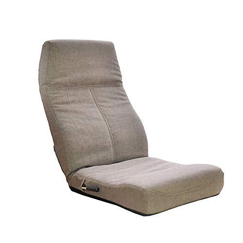 YHLZ Lazy Sofa, Stuhl Bodenboden Sitzstuhl for Erwachsene, Faltbare japanischen Stil Tatami Meditationskissen Sofa mit Rückenstütze, 14 Einstellbare Angles (Color : Gray)