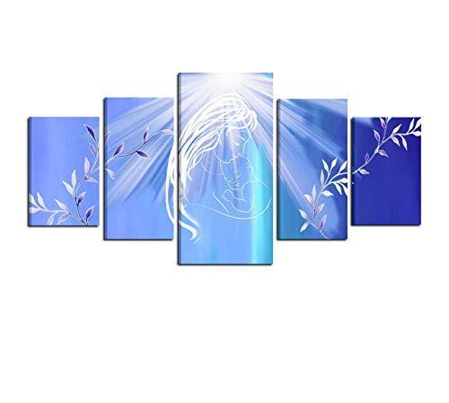 I Colori del Caribe Quadro Moderno CAPEZZALE per Camera da Letto Religioso Madonna con Bambino Quadri Moderni Religiosi Azzurro Bianco CAPEZZALI Alta QUALITA' Made in Italy - Raggio di Luce