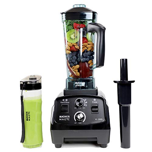 Buchys Magic Countertop Blender 2200 Watt Base 68OZ- High Power Commercial Blender, Ice Crusher - Best Smoothie Blender, Food Processor for Frozen Fruit, deserts,Shakes or Hot Soups