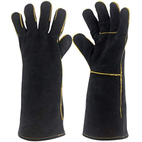 WFSH Welding Gloves,Cow Split Leather Gloves,BBQ,Camping,Cooking Gloves,Baking Grill Gloves,Welder Fireplace Stove Pot Holder Work Place Gloves