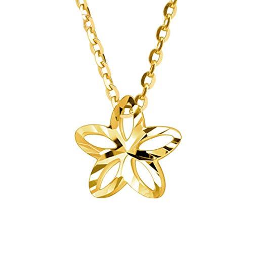 KnSam 18K Oro Amarillo Collar, Cadena de Clavícula Hueco Estrellas, Color Oro, Amarillo Oro