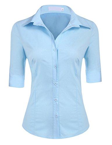 BeautyUU Damen 3/4 Ärmel Hemdbluse Damenbluse Slim Fit 10 Farben zur Auswahl S-XL Blau L