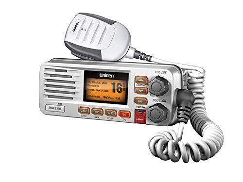 Uniden UM380 25 Watt Fixed Mount Marine VHF Radio, Class D, DSC, Waterproof Level IPX4/JIS4, S,A,M,E, Emergency/ NOAA Weather Alert (New replacement model, Replaced by Uniden UM385)