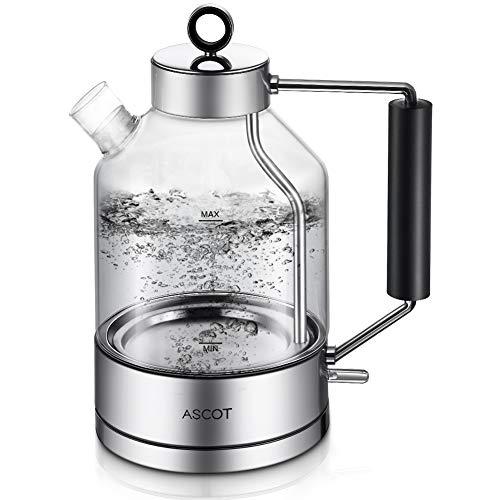 Wasserkocher Glas, ASCOT Elektrischer Wasserkocher Edelstahl, 2200W, 1,6L, Retro Design, BPA frei, leiser Schnellkochkessel, kabelloser Teekessel, Trockengehschutz und automatische Abschaltung