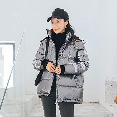 DYH&CTS Daunenjacken Oversize Damen Mantel Warme Kapuzen Winterjacke Damen Causal Full Sleeve Zipper Parkas Weibliche Baumwolle Gefütterte Jacken, grau, XL