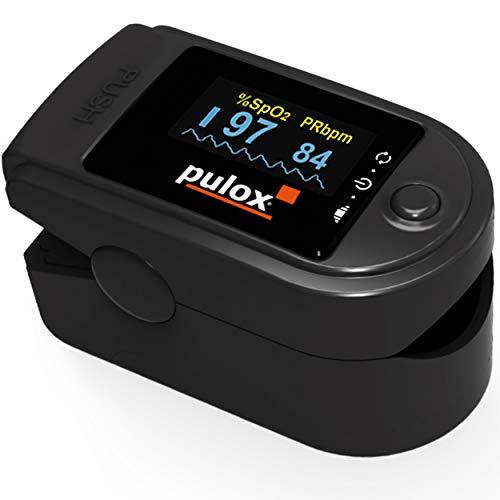 PULOX PO-200 Solo Oxímetro de Pulso Sensor de Saturación de Oxígeno y Pulso Monitor de ritmo cardíaco con Pantalla OLED