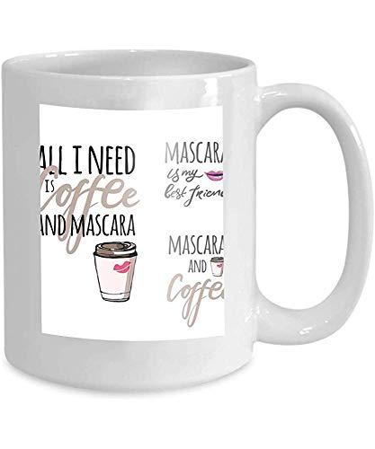 Mok Koffie Thee Beker Mascara Hand Gekleurde Grafische Hand Gestreepte kalligrafie Ontwerp Mode Stijl Alles wat ik nodig Koffie 110z