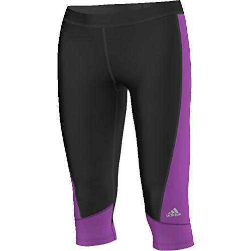 adidas Damen Techfit Color Block Caprihose, Black/Shock Purple, S