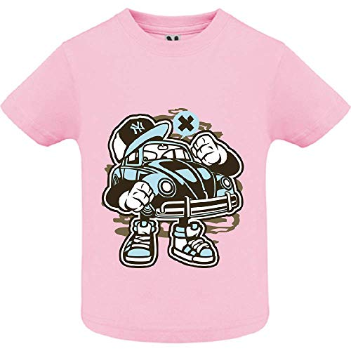 LookMyKase T-Shirt - Street Beetle - Bébé Fille - Rose - 2ans