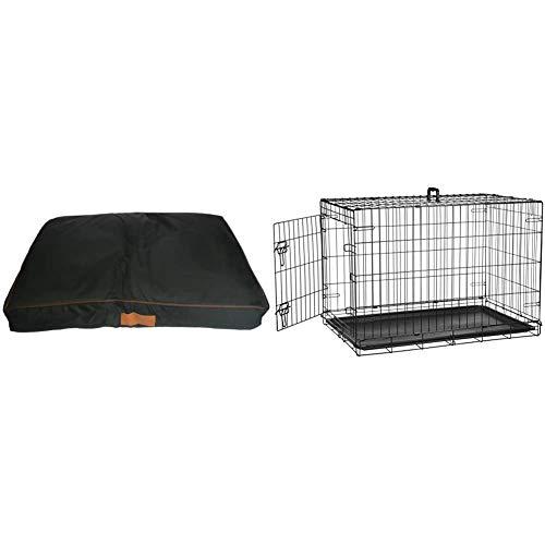 Ellie-Bo Cama para perro grande de 87 cm x 57 cm, resistente al agua, se ajusta a la jaula o caja de perro Ellie-Bo de 91 cm + AmazonBasics - Jaula plegable de metal para mascota (una puerta, 91 cm)