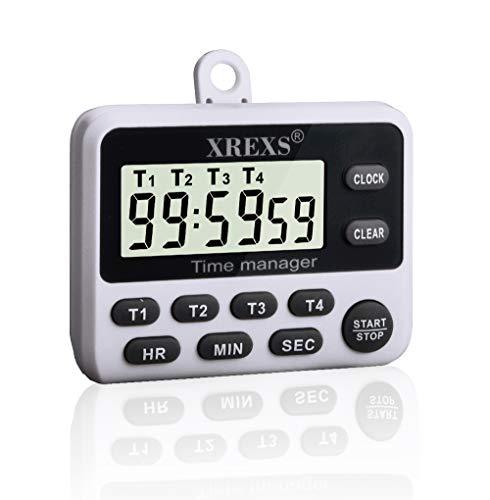 XREXS -Temporizador digital de cocina dual, temporizador de volumen de alarma ajustable, temporizador de cocina, cronómetro, pantalla led grande temporizador de encimera batería incluida